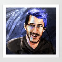 markiplier Art Prints featuring Messing around with Markiplier by JazzySatinDoll