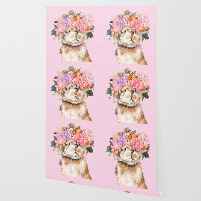 Rabbit with Flowers Crown Wallpaper