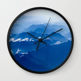 AERIAL PHOTOGRAPHY OF MOUNTAIN UNDER CLEAR BLUE SKY Wall Clock