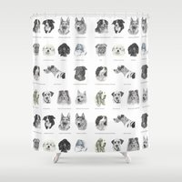pomeranian Shower Curtains featuring Dog poster by Doggyshop