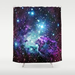 Fox Fur Nebula : Purple Teal Galaxy Shower Curtain