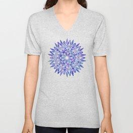 Mandala Vivid Blue Unisex V-Neck