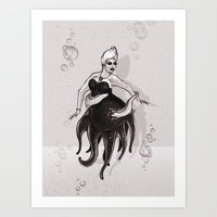 ursula Art Prints featuring Ursula by Sam Pea