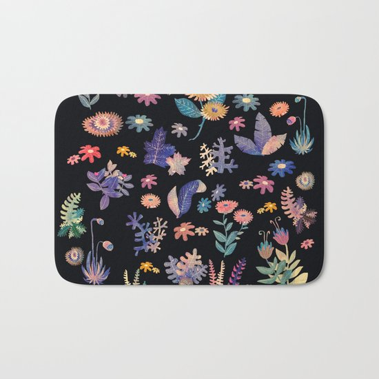 color flowers in the dark Bath Mat