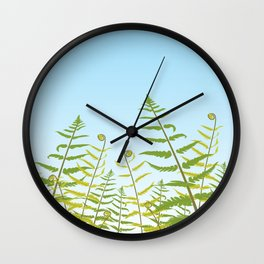 Fiddleheads and Fern Fronds Wall Clock
