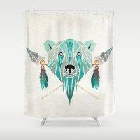 polar bear Shower Curtains featuring polar bear by Manoou