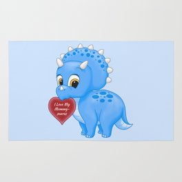 Cute Blue Baby Triceratops Red Love Mommy Heart Rug