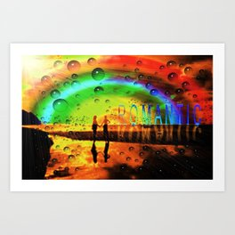Romantic Sunset Reflections and Rainbow Art Print