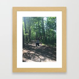Jumping through life obstacles Framed Art Print
