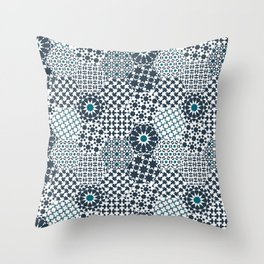 Spanish Tiles of the Alhambra - Gray & dark Aquamarine Throw Pillow