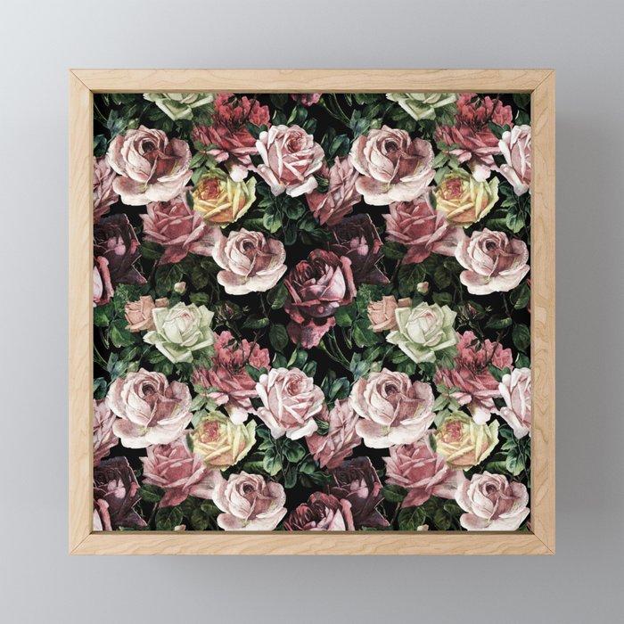 Vintage & Shabby chic - dark retro floral roses pattern Framed Mini Art Print