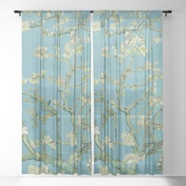 Almond Blossoms Painting by Vincent van Gogh Oil Painting Pastel Blue White Floral Blossom Petals Pattern Sheer Curtain
