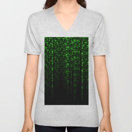 Bright Neon Green Digital Cocktail Party Unisex V-Neck