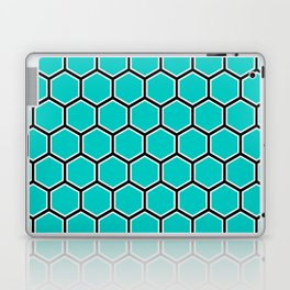 Bright turquoise, white and black hexagonal pattern Laptop & iPad Skin