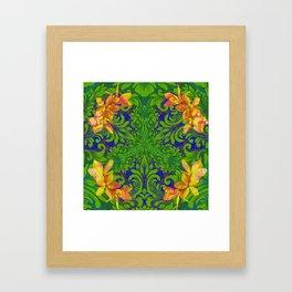 Lush Floral Plumeria Mandala Framed Art Print