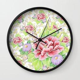 Kimono Summer Bouquet Wall Clock