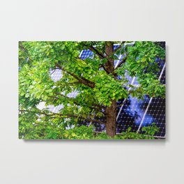 Four Seasons Photosynthesis - Summer. Green Oak Tree And A Solar Power Panel Metal Print