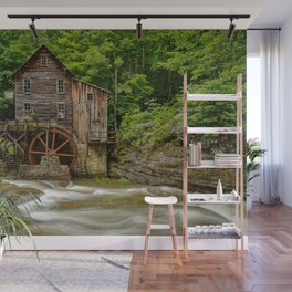 GLADE CREEK GRIST MILL SUMMER PHOTO - WEST VIRGINIA PICTURE - OLD MILL IMAGE - LANDSCAPE PHOTOGRAPHY Wall Mural