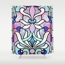 Delicate Stained-glass in Victorian Blue Detail Shower Curtain