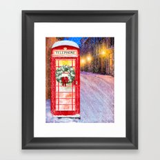 British Christmas In The Snow - Classic Red Telephone Box Framed Art Print