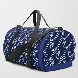 Rough Sea Pattern - white on navy blue Duffle Bag