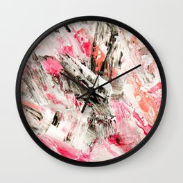 Candy Modern abstract pink salmon black grey acrylic brushstrokes painting Wall Clock