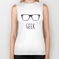 geek Biker Tanks featuring GEEK by colorstudio