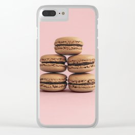 Macaroons on pink background Clear iPhone Case