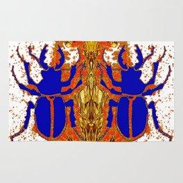 Lapis Blue Beetle on Gold Rug