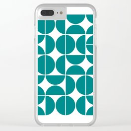 Mid Century Modern Geometric 04 Teal Clear iPhone Case