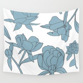 Roses in Blue Wall Tapestry