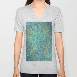 Sapphire & Jade Stained Glass Mandalas Unisex V-Neck