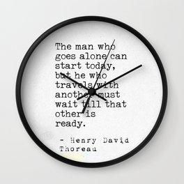Henry David Thoreau travel quote Wall Clock