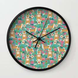 Shiba Inu floral dog breed pet art must have gifts pure bred shiba inus doggo Wall Clock