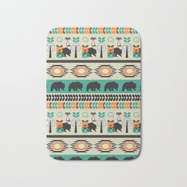 Native spirit with foxes and bears Bath Mat