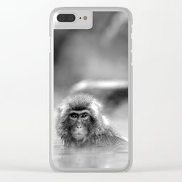 Black and White Macaque at a hot spring Clear iPhone Case