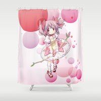 madoka Shower Curtains featuring Madoka Kaname by Yue Graphic Design