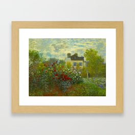 Claude Monet Impressionist Landscape Oil Painting A Corner of the Garden with Dahliass Framed Art Print