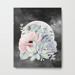 Pretty Succulents Full Moon Night Sky by Nature Magick Metal Print