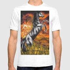 It's always sunny in philadelphia, charlie kelly horse shirt, black stallion MEDIUM White Mens Fitted Tee