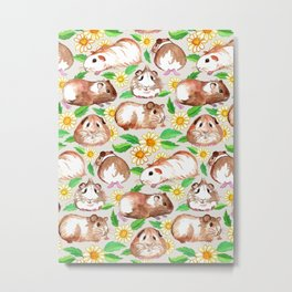 Guinea Pigs and Daisies in Watercolor Metal Print