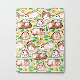 Guinea Pigs and Daisies in Watercolor Metal Print
