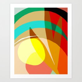 Shapes and Layers no.7 - Modern circles, stripes and leaves Art Print