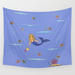 Fashionable mermaid - violet Wall Tapestry