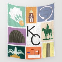 kansas Wall Tapestries featuring Kansas City Landmark Print by Jenna Davis Designs