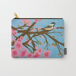 Chickadee on Cherry Tree Carry-All Pouch