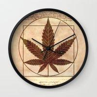 marijuana Wall Clocks featuring vitruvian marijuana by Emekli Astronot