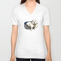 westie V-neck T-shirts featuring Dexter the Westie in His Doggie Bed by Circus Dog Industries