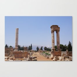 Ruins - Pillars & Mountains  Canvas Print