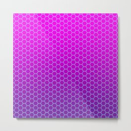 Neon Pink & Purple Honeycomb Synthwave Pattern Metal Print